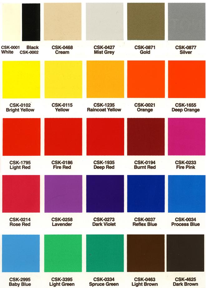 Color Chart Silk Screen Ink Selector